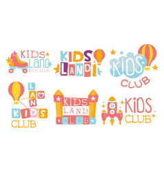 Kids land club logo set education centre for vector