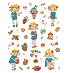 Little girls and sweets collection vector image