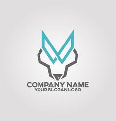 Logo line wolf vector