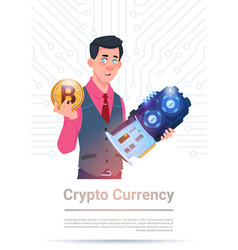 Man holding microchip and bitcoin over motherboard vector