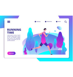 man running in park fitness workout and healthy vector image