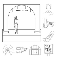 metro subway outline icons in set collection for vector image