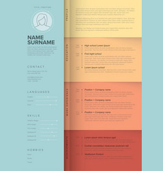 minimalist teal resume cv template for women vector image