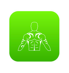 Muscular man with tattoo icon digital green vector