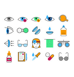 Ophthalmology thin line icons set vector
