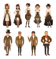People dressed in historic clothes man and woman vector
