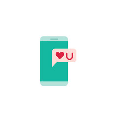 phone with heart line icon vector image