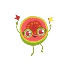 Pink Guava Girly Cartoon Character vector