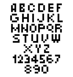 Pixel Font - Alphabets and numerals characters in vector image