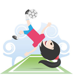Pretty woman athlete playing soccer vector