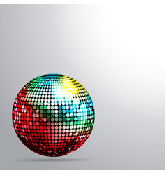 rainbow disco ball and shadow background vector image