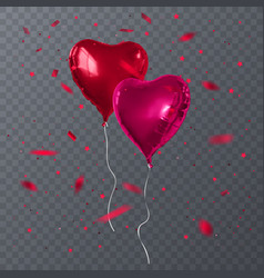 red balloons shape of heart vector image