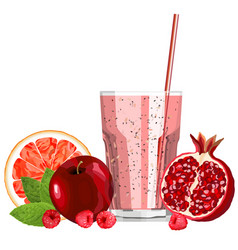 Red color blended smoothie in a glass with vector