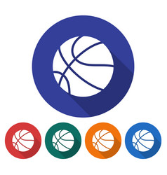 round icon of basketball flat style with long vector image