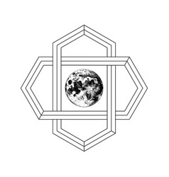 Sacred geometry sign with hand drawn earth vector