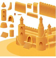 Sand castle sea building summer beach set element vector
