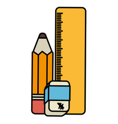 School rule with eraser and pencil vector