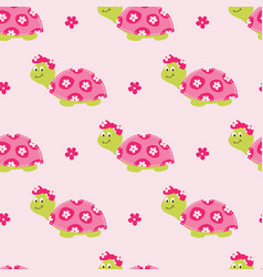Seamless pattern with cute turtles vector