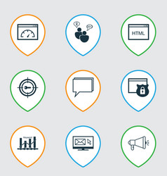 Set of 9 advertising icons includes keyword vector