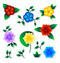 Set of exotic flower stickers vector