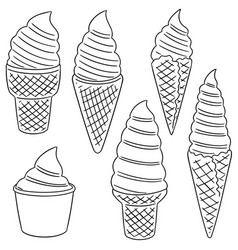 set of soft cream vector image