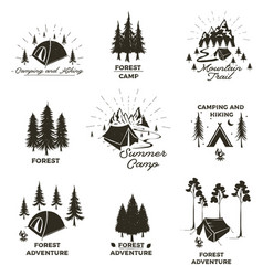 Set vintage camping and outdoor adventure vector