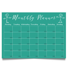 Simple monthly planner template with hand drawn vector