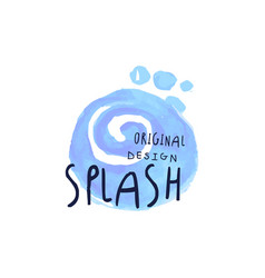 Splash logo original design aqua blue label vector