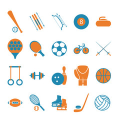 Sport icon signs and symbols color set vector