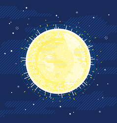 sun star in space in flat style vector image
