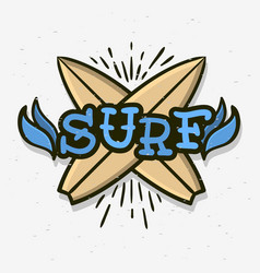 surfing surf themed hand drawn traditional old vector image