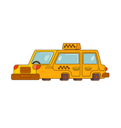 Taxi isolated style outline yellow car vector