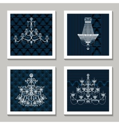 Vintage Chandelier Cards vector