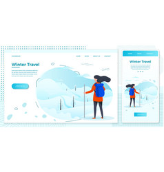 Winter set country hiking girl vector