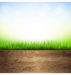 Wooden Background With Grass Border vector image