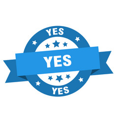 yes ribbon yes round blue sign yes vector image