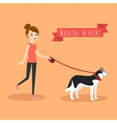 young girl walking with her dog vector image