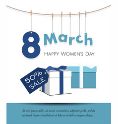8 march womens day card with gifts sale banner vector image vector image