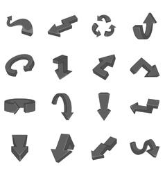 Arrow icons set black monochrome style vector image vector image