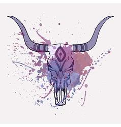 bull skull with watercolor splash vector image vector image