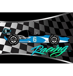 Race car poster on checkered flag with script vector