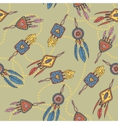 Seamless pattern with dreamcatcher feathers and vector image vector image
