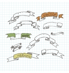 Set of ribbons drawn by hand Doodle vector image