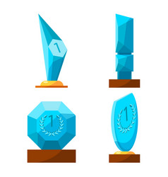 Trophy glass awards collection rewards of vector