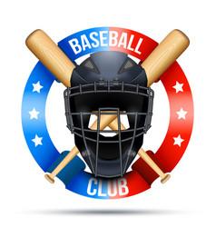 baseball catcher mask sign vector image
