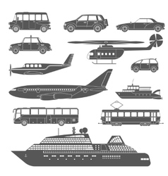 Detailed black and white transport icons set vector image vector image