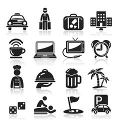 Hotel black icons set vector image