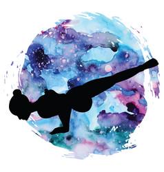 women silhouette flying pigeon yoga pose eka vector image vector image