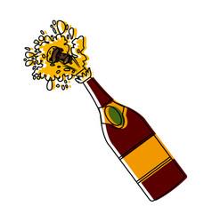 champagne bottle open vector image vector image