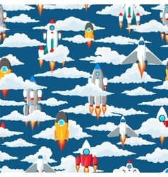 Clouds and space ships seamless pattern vector image